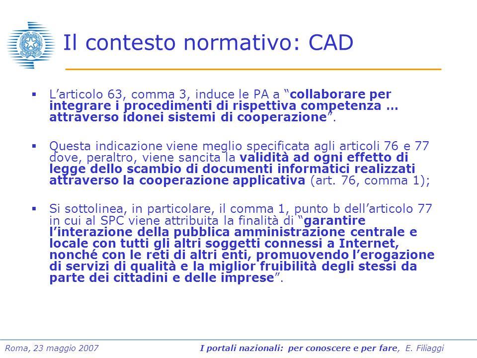 Roma, 23 maggio 2007 I portali nazionali: per conoscere e per fare, E. Filiaggi Il contesto normativo: CAD Larticolo 63, comma 3, induce le PA a colla