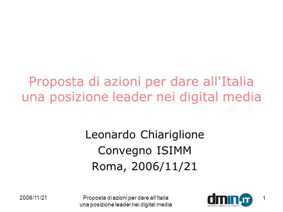 2006/11/21Proposta di azioni per dare all Italia una posizione leader nei digital media 1 Leonardo Chiariglione Convegno ISIMM Roma, 2006/11/21