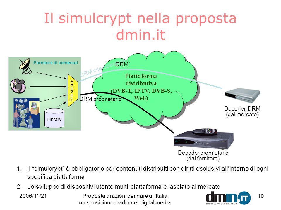 2006/11/21Proposta di azioni per dare all Italia una posizione leader nei digital media 10 Fornitore di contenuti Library Emissione Piattaforma distributiva (DVB-T, IPTV, DVB-S, Web) Piattaforma distributiva (DVB-T, IPTV, DVB-S, Web) DRM interoperabile DRM proprietario Decoder proprietario (dal fornitore) 1.Il simulcrypt è obbligatorio per contenuti distribuiti con diritti esclusivi allinterno di ogni specifica piattaforma 2.Lo sviluppo di dispositivi utente multi-piattaforma è lasciato al mercato Il simulcrypt nella proposta dmin.it Decoder iDRM (dal mercato) iDRM