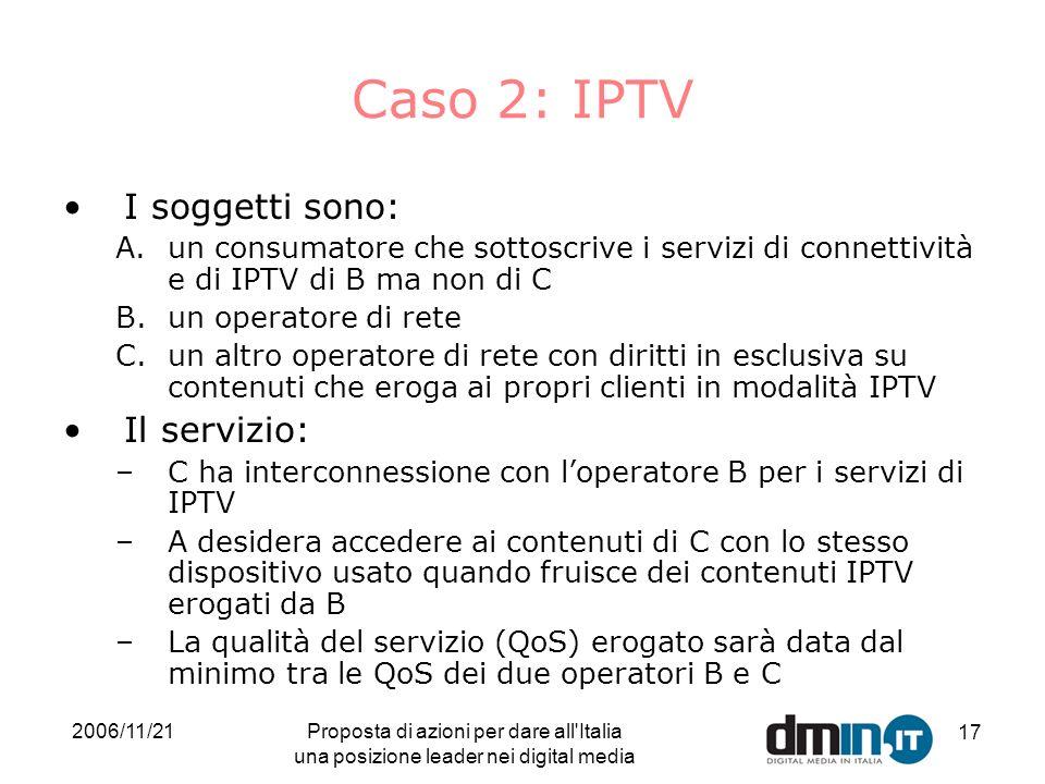 2006/11/21Proposta di azioni per dare all Italia una posizione leader nei digital media 17 Caso 2: IPTV I soggetti sono: A.un consumatore che sottoscrive i servizi di connettività e di IPTV di B ma non di C B.un operatore di rete C.un altro operatore di rete con diritti in esclusiva su contenuti che eroga ai propri clienti in modalità IPTV Il servizio: –C ha interconnessione con loperatore B per i servizi di IPTV –A desidera accedere ai contenuti di C con lo stesso dispositivo usato quando fruisce dei contenuti IPTV erogati da B –La qualità del servizio (QoS) erogato sarà data dal minimo tra le QoS dei due operatori B e C