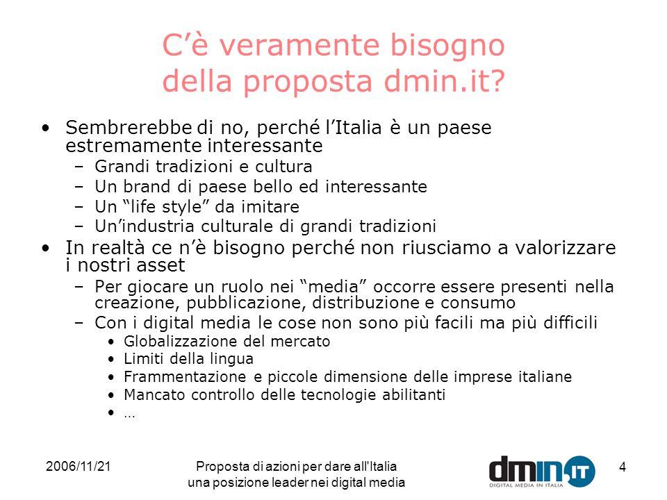 2006/11/21Proposta di azioni per dare all Italia una posizione leader nei digital media 4 Cè veramente bisogno della proposta dmin.it.