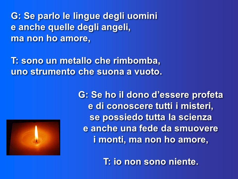 G: Se ho il dono dessere profeta e di conoscere tutti i misteri, se possiedo tutta la scienza e anche una fede da smuovere i monti, ma non ho amore, T