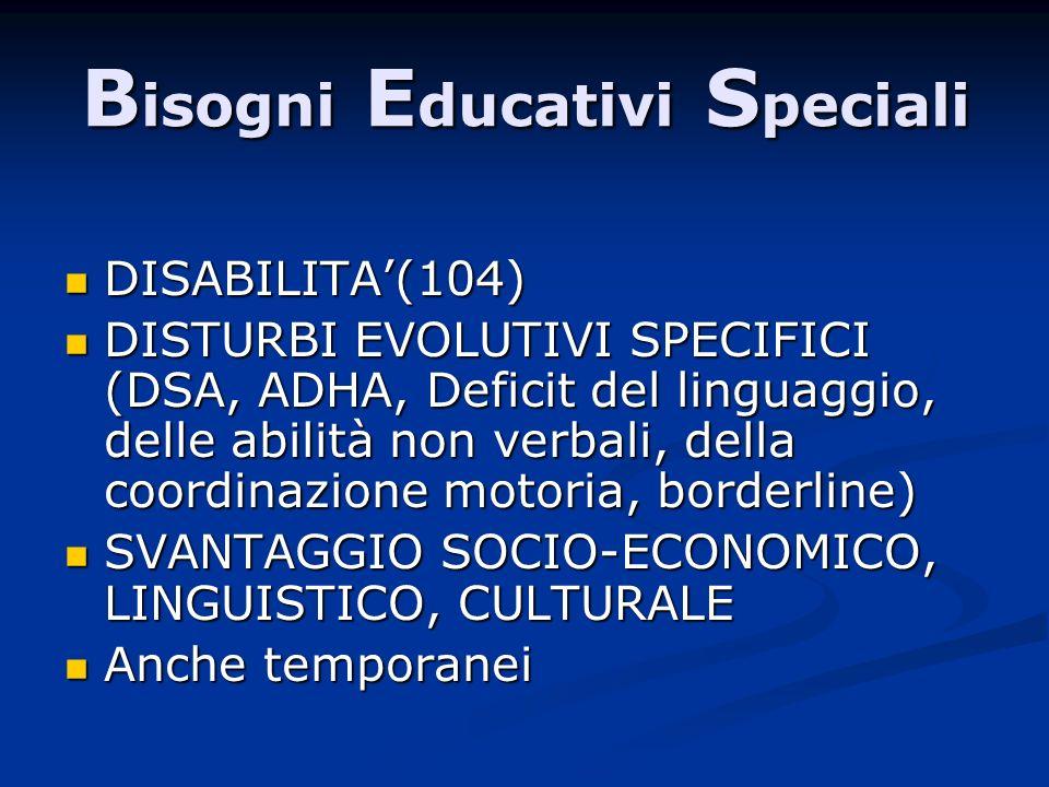 B isogni E ducativi S peciali DISABILITA(104) DISABILITA(104) DISTURBI EVOLUTIVI SPECIFICI (DSA, ADHA, Deficit del linguaggio, delle abilità non verba
