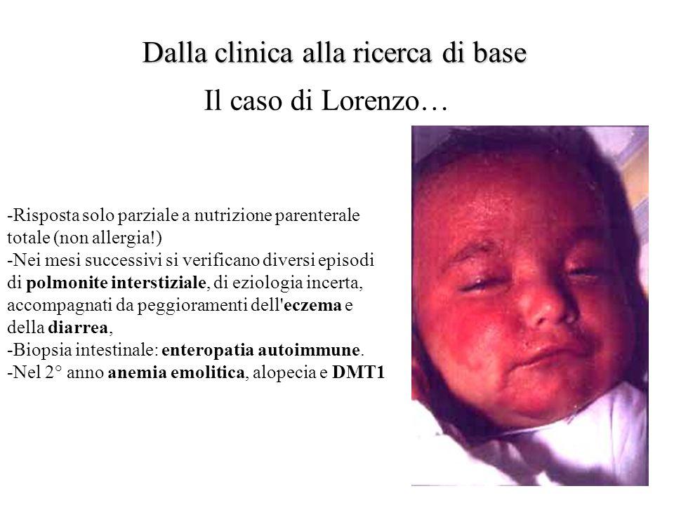 Dalla clinica alla ricerca di base Il caso di Lorenzo… -Risposta solo parziale a nutrizione parenterale totale (non allergia!) -Nei mesi successivi si