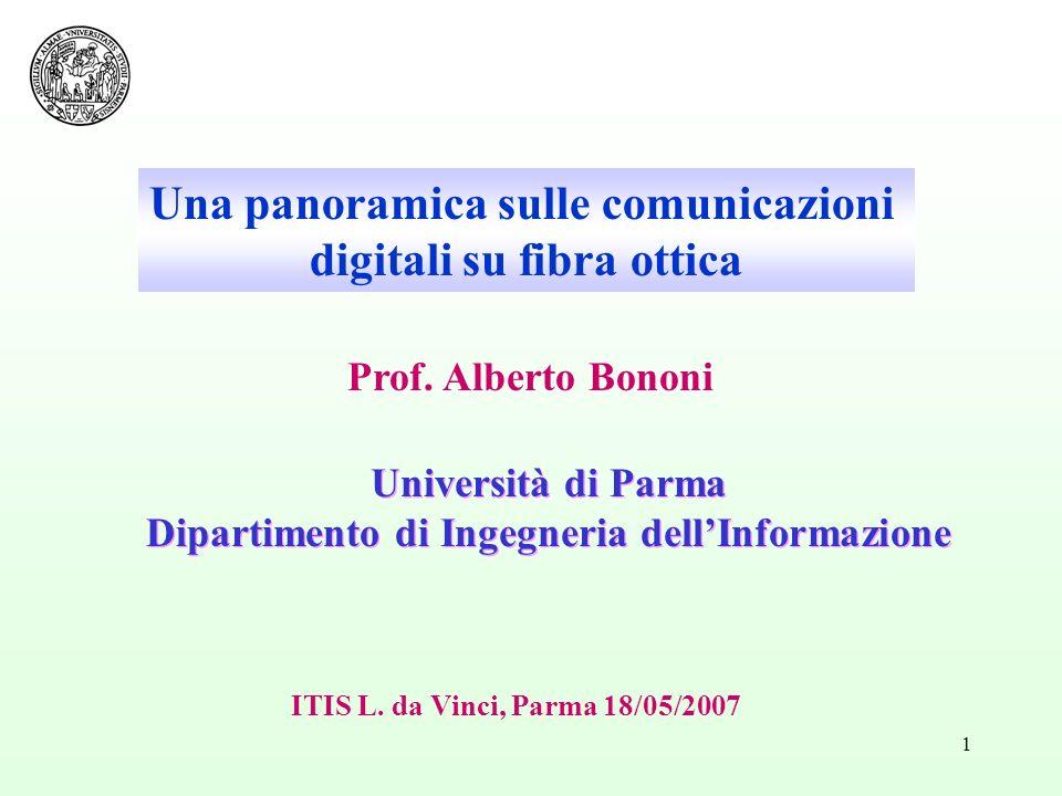 1 Università di Parma Dipartimento di Ingegneria dellInformazione Università di Parma Dipartimento di Ingegneria dellInformazione Prof. Alberto Bononi