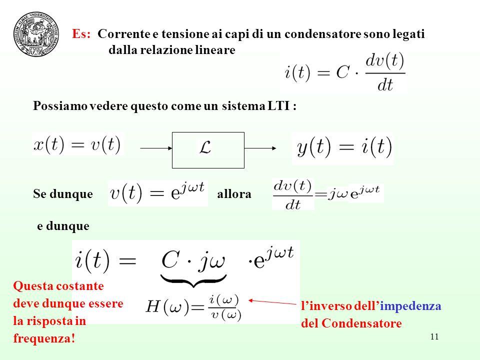 11 Es: Corrente e tensione ai capi di un condensatore sono legati dalla relazione lineare Possiamo vedere questo come un sistema LTI : Se dunque e dunque allora linverso dellimpedenza del Condensatore Questa costante deve dunque essere la risposta in frequenza!