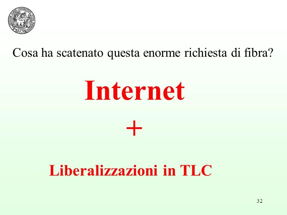 32 Cosa ha scatenato questa enorme richiesta di fibra? Internet + Liberalizzazioni in TLC