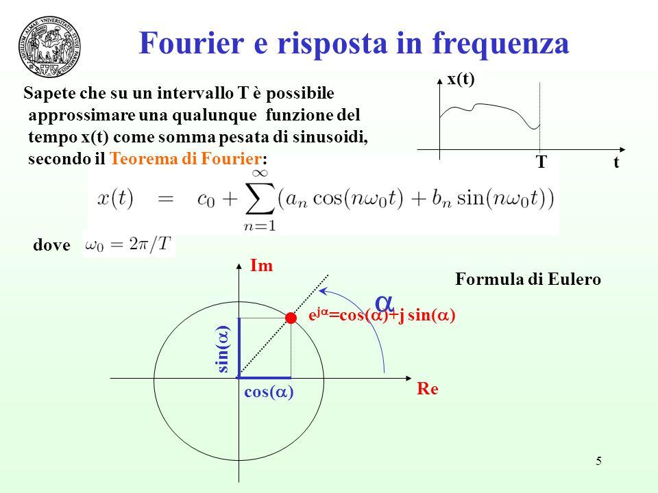 5 dove Fourier e risposta in frequenza Tt x(t) Sapete che su un intervallo T è possibile approssimare una qualunque funzione del tempo x(t) come somma pesata di sinusoidi, secondo il Teorema di Fourier: cos( ) sin( ) Re Im e j =cos( )+j sin( ) Formula di Eulero