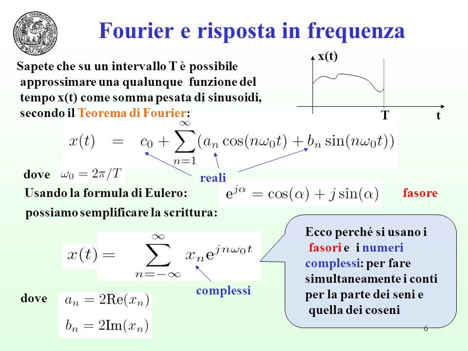6 Usando la formula di Eulero:fasore possiamo semplificare la scrittura: dove Fourier e risposta in frequenza Tt x(t) Sapete che su un intervallo T è possibile approssimare una qualunque funzione del tempo x(t) come somma pesata di sinusoidi, secondo il Teorema di Fourier: Ecco perché si usano i fasori e i numeri complessi: per fare simultaneamente i conti per la parte dei seni e quella dei coseni reali complessi