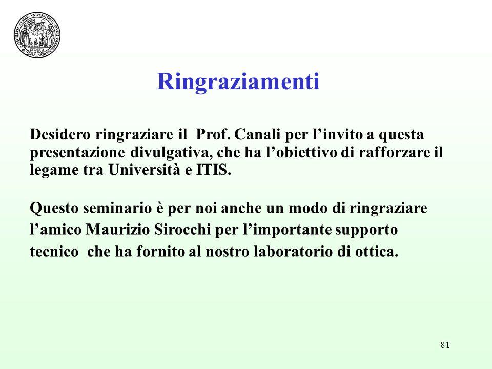 81 Desidero ringraziare il Prof. Canali per linvito a questa presentazione divulgativa, che ha lobiettivo di rafforzare il legame tra Università e ITI