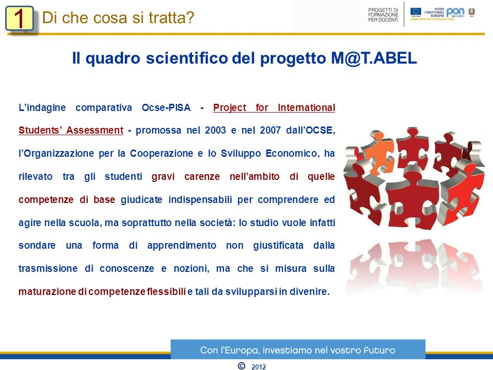 Lindagine comparativa Ocse-PISA - Project for International Students Assessment - promossa nel 2003 e nel 2007 dallOCSE, lOrganizzazione per la Cooper