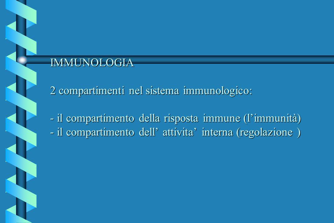 IMMUNOLOGIA 2 compartimenti nel sistema immunologico: - il compartimento della risposta immune (limmunità) - il compartimento dell attivita interna (r