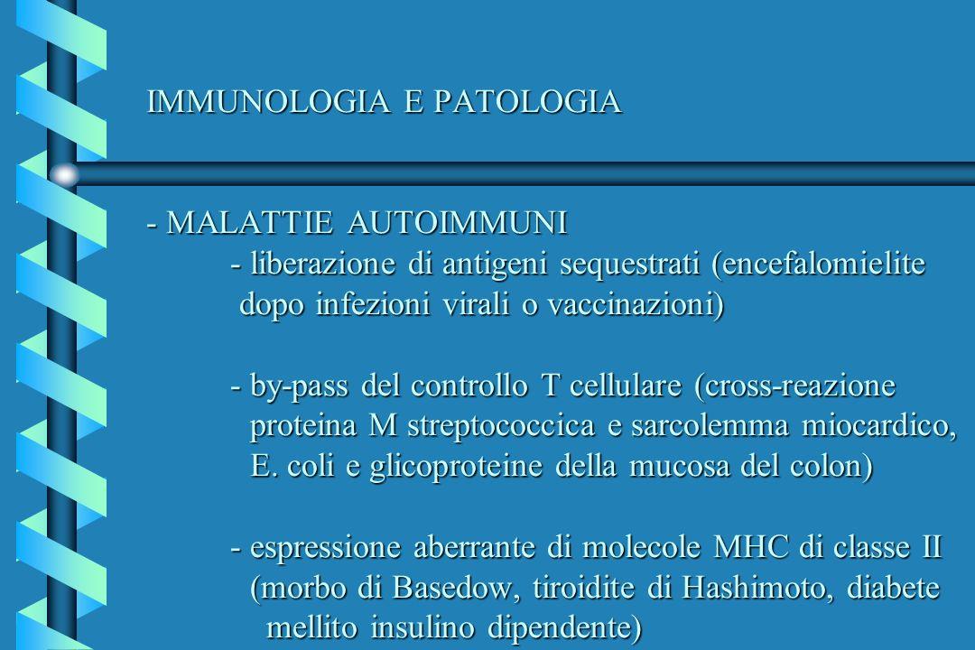 IMMUNOLOGIA E PATOLOGIA - MALATTIE AUTOIMMUNI - liberazione di antigeni sequestrati (encefalomielite dopo infezioni virali o vaccinazioni) - by-pass d