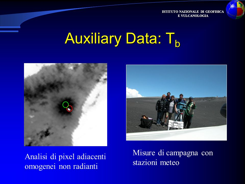 ISTITUTO NAZIONALE DI GEOFISICA E VULCANOLOGIA Auxiliary Data: T b Misure di campagna con stazioni meteo Analisi di pixel adiacenti omogenei non radia