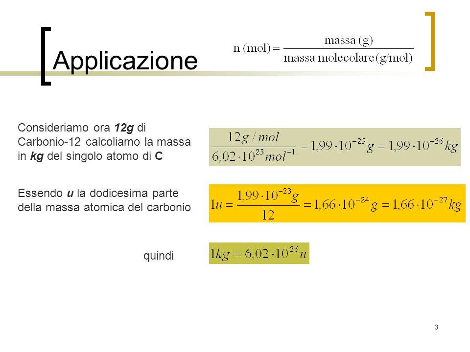 3 Applicazione Consideriamo ora 12g di Carbonio-12 calcoliamo la massa in kg del singolo atomo di C Essendo u la dodicesima parte della massa atomica