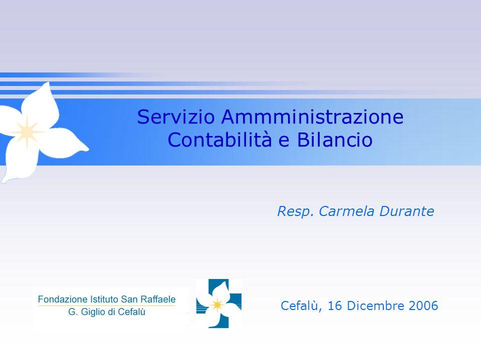 Servizio Ammministrazione Contabilità e Bilancio Resp. Carmela Durante Cefalù, 16 Dicembre 2006