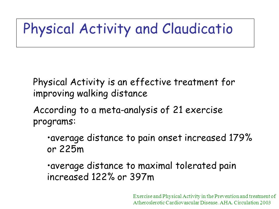 Physical Activity and Claudicatio Physical Activity is an effective treatment for improving walking distance According to a meta-analysis of 21 exerci