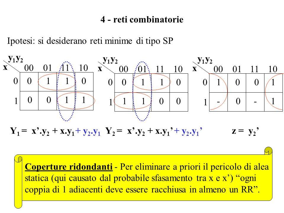 3 - codifica e tabella delle transizioni y20y20 y10y10 Codifica degli stati - A stati consecutivi (stato presente e futuro) si devono assegnare config