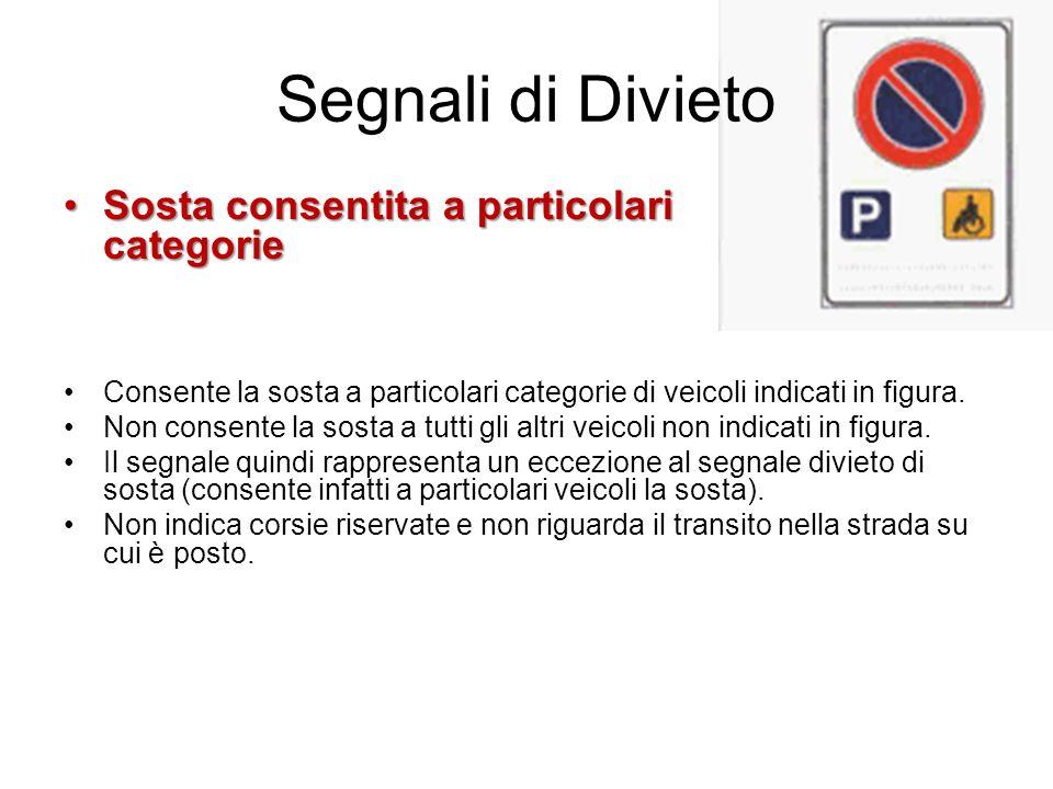 Segnali di Divieto Sosta consentita a particolari categorieSosta consentita a particolari categorie Consente la sosta a particolari categorie di veico