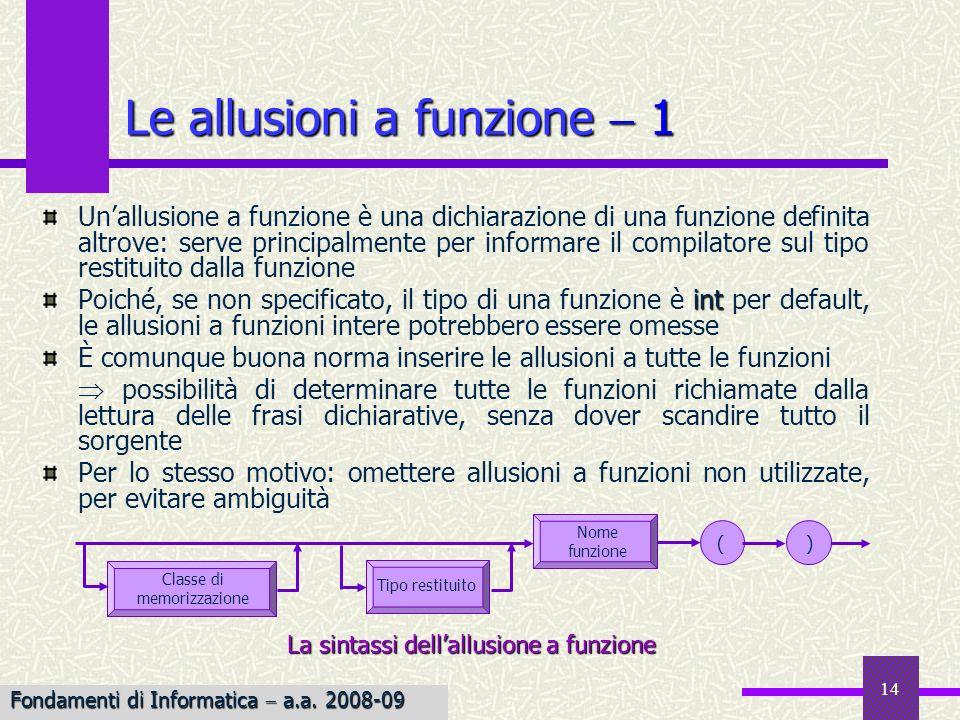 Fondamenti di Informatica I a.a. 2007-08 14 Le allusioni a funzione 1 Unallusione a funzione è una dichiarazione di una funzione definita altrove: ser