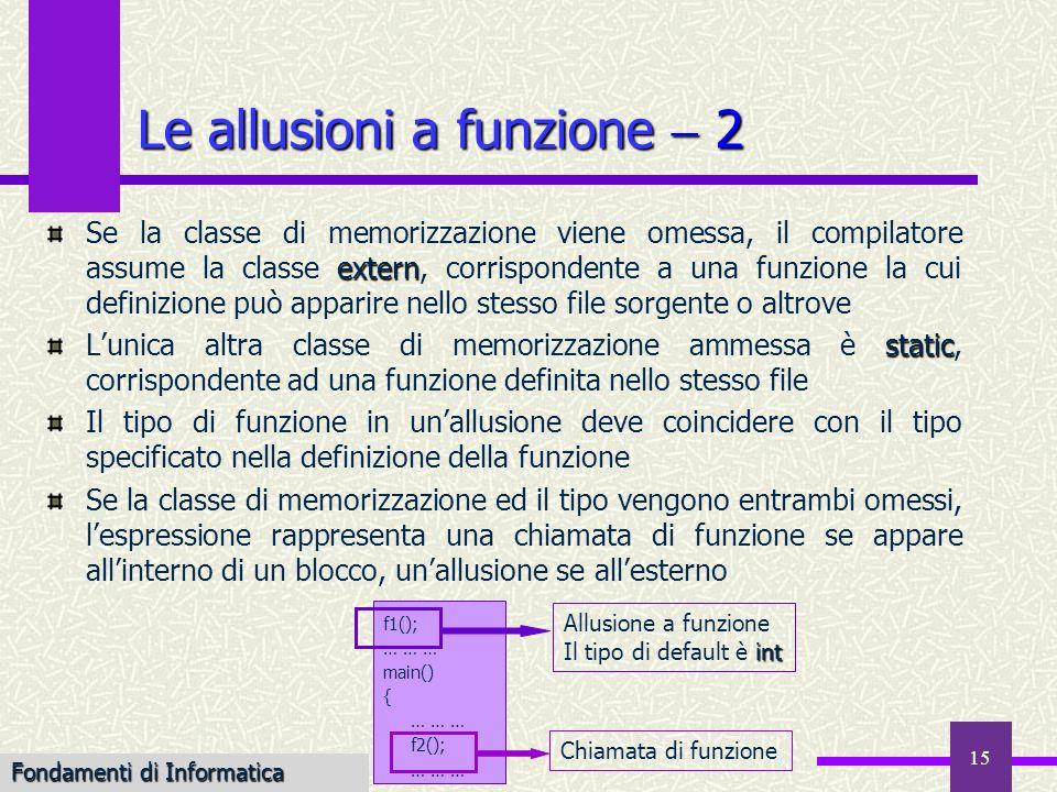 Fondamenti di Informatica I a.a. 2007-08 15 Le allusioni a funzione 2 extern Se la classe di memorizzazione viene omessa, il compilatore assume la cla
