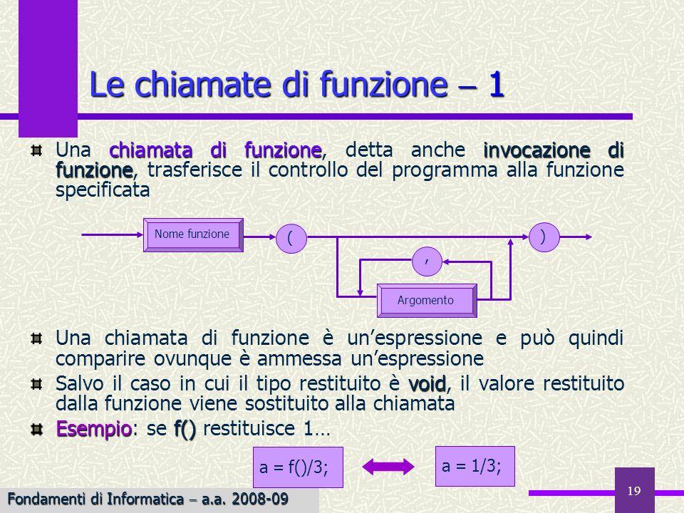 Fondamenti di Informatica I a.a. 2007-08 19 chiamata di funzioneinvocazione di funzione Una chiamata di funzione, detta anche invocazione di funzione,