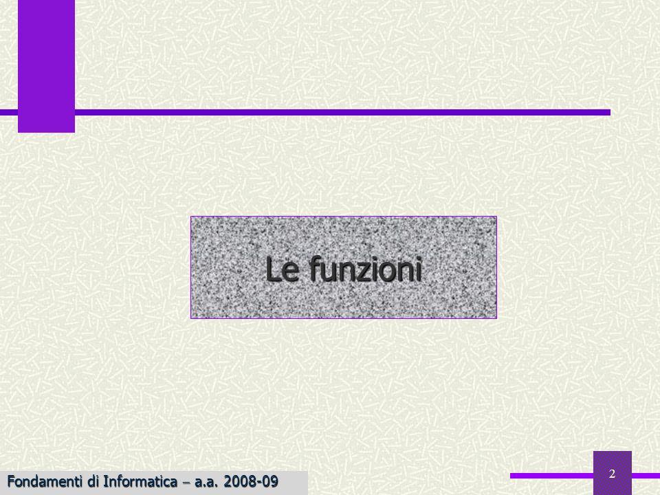 Fondamenti di Informatica I a.a. 2007-08 2 Le funzioni Fondamenti di Informatica a.a. 2008-09