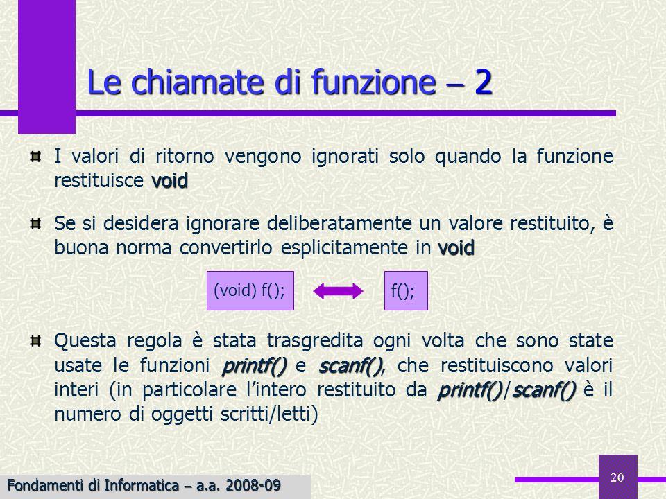 Fondamenti di Informatica I a.a. 2007-08 20 Le chiamate di funzione 2 void I valori di ritorno vengono ignorati solo quando la funzione restituisce vo