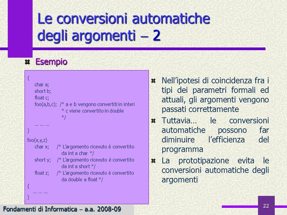 Fondamenti di Informatica I a.a. 2007-08 22 Le conversioni automatiche degli argomenti 2 Nellipotesi di coincidenza fra i tipi dei parametri formali e