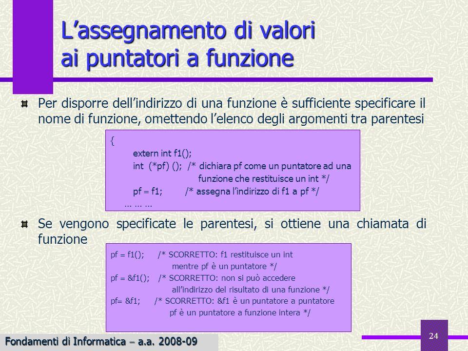 Fondamenti di Informatica I a.a. 2007-08 24 Lassegnamento di valori ai puntatori a funzione Per disporre dellindirizzo di una funzione è sufficiente s