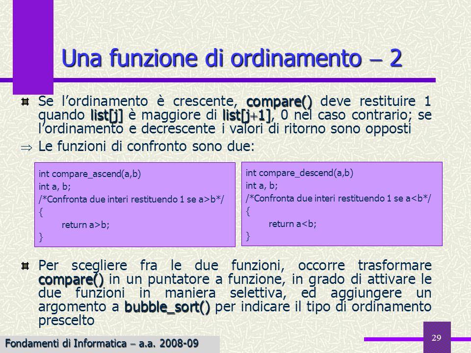 Fondamenti di Informatica I a.a. 2007-08 29 Una funzione di ordinamento 2 compare() list[j]list[j 1] Se lordinamento è crescente, compare() deve resti