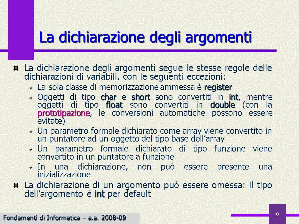 Fondamenti di Informatica I a.a. 2007-08 9 La dichiarazione degli argomenti La dichiarazione degli argomenti segue le stesse regole delle dichiarazion