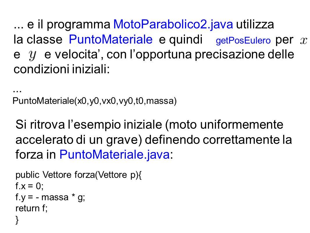 ... e il programma MotoParabolico2.java utilizza la classe PuntoMateriale e quindi getPosEulero per e e velocita, con lopportuna precisazione delle co