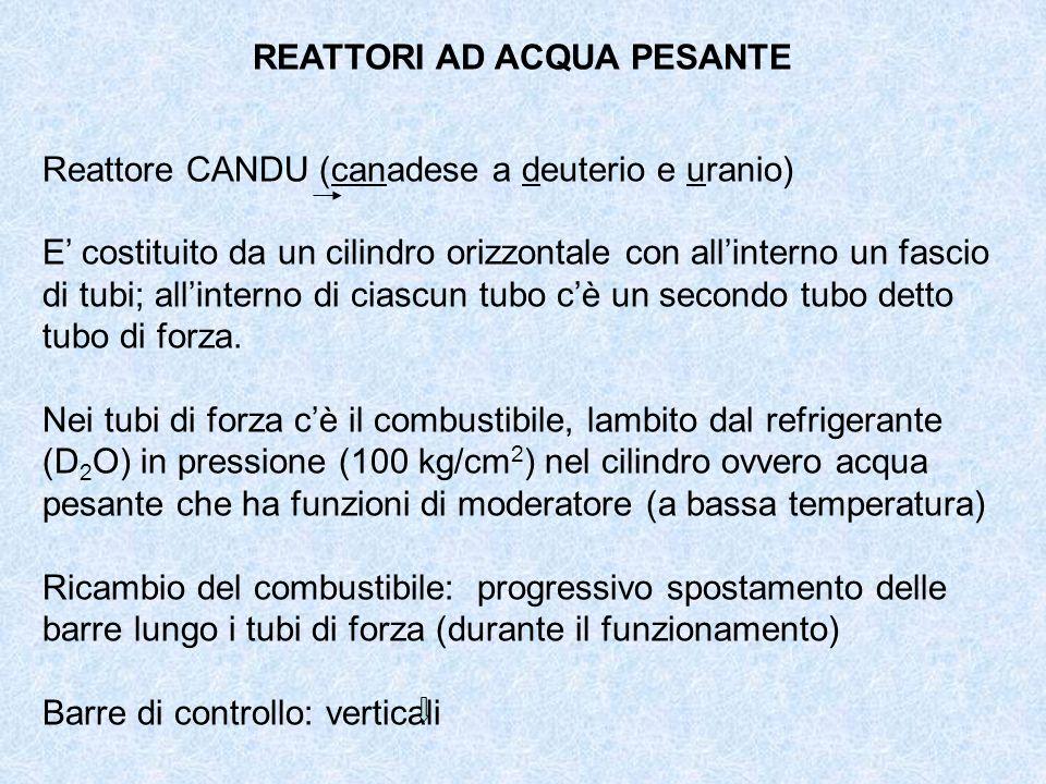 REATTORI AD ACQUA PESANTE Reattore CANDU (canadese a deuterio e uranio) E costituito da un cilindro orizzontale con allinterno un fascio di tubi; alli