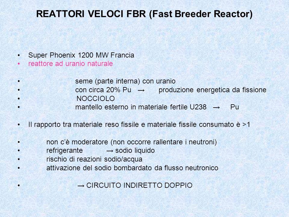 REATTORI VELOCI FBR (Fast Breeder Reactor) Super Phoenix 1200 MW Francia reattore ad uranio naturale seme (parte interna) con uranio con circa 20% Pu