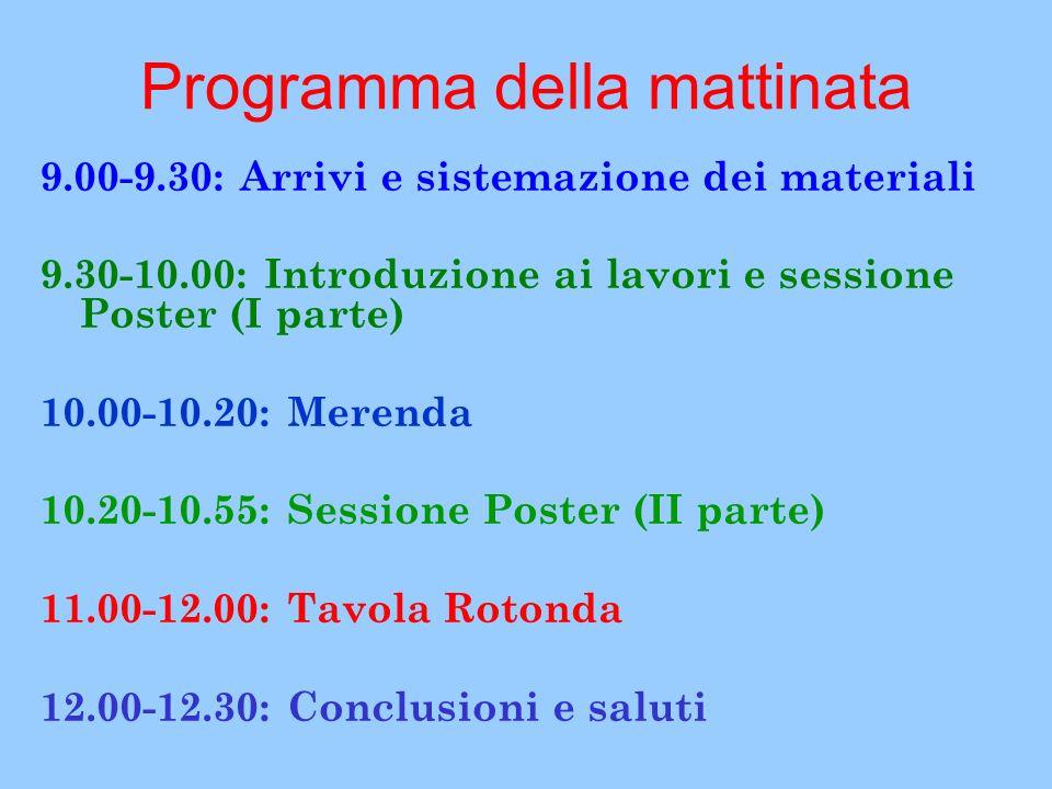Programma della mattinata 9.00-9.30: Arrivi e sistemazione dei materiali 9.30-10.00: Introduzione ai lavori e sessione Poster (I parte) 10.00-10.20: Merenda 10.20-10.55: Sessione Poster (II parte) 11.00-12.00: Tavola Rotonda 12.00-12.30: Conclusioni e saluti