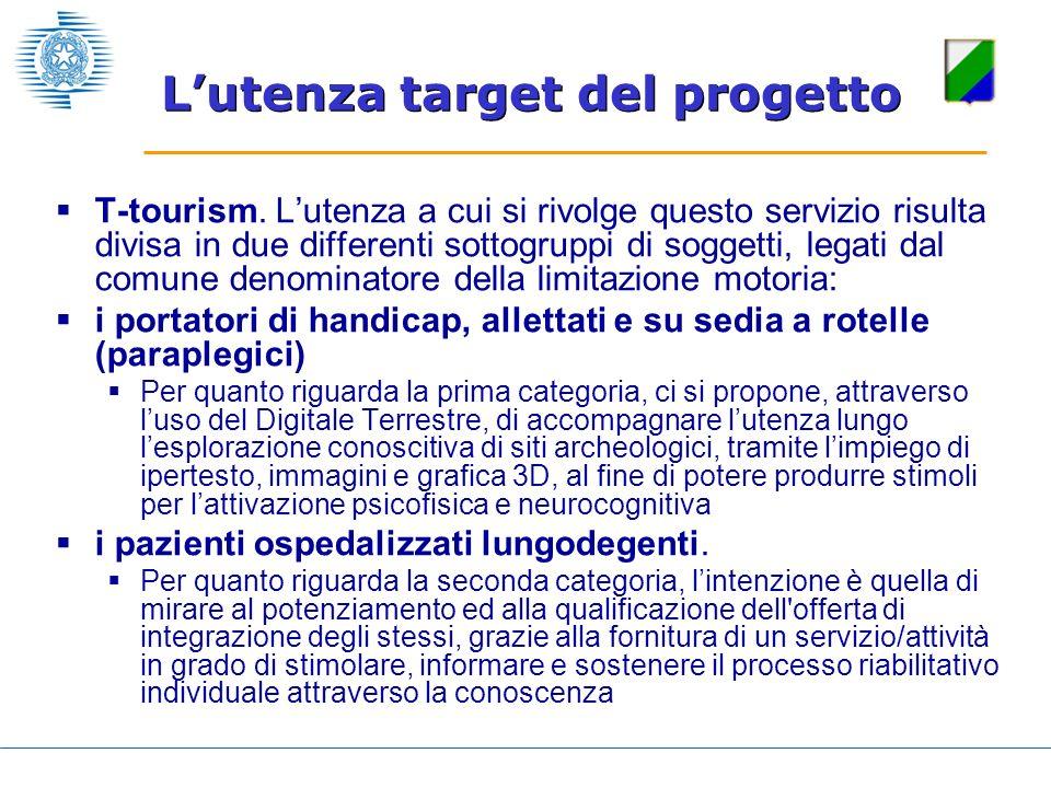 T-tourism. Lutenza a cui si rivolge questo servizio risulta divisa in due differenti sottogruppi di soggetti, legati dal comune denominatore della lim