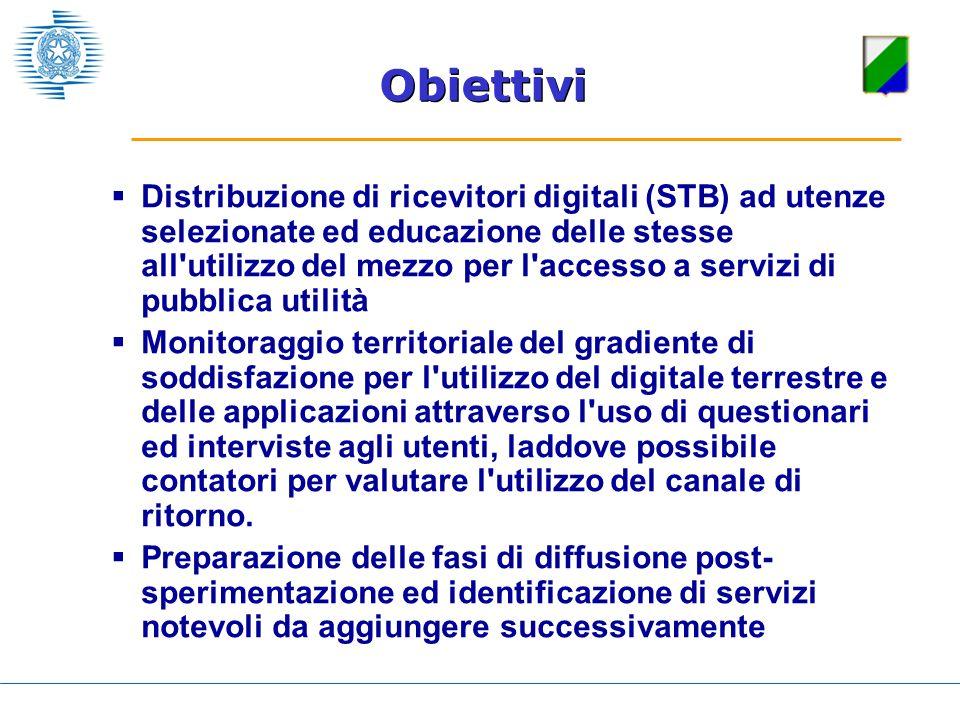 Distribuzione di ricevitori digitali (STB) ad utenze selezionate ed educazione delle stesse all'utilizzo del mezzo per l'accesso a servizi di pubblica
