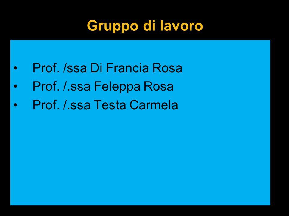 Gruppo di lavoro Prof. /ssa Di Francia Rosa Prof. /.ssa Feleppa Rosa Prof. /.ssa Testa Carmela