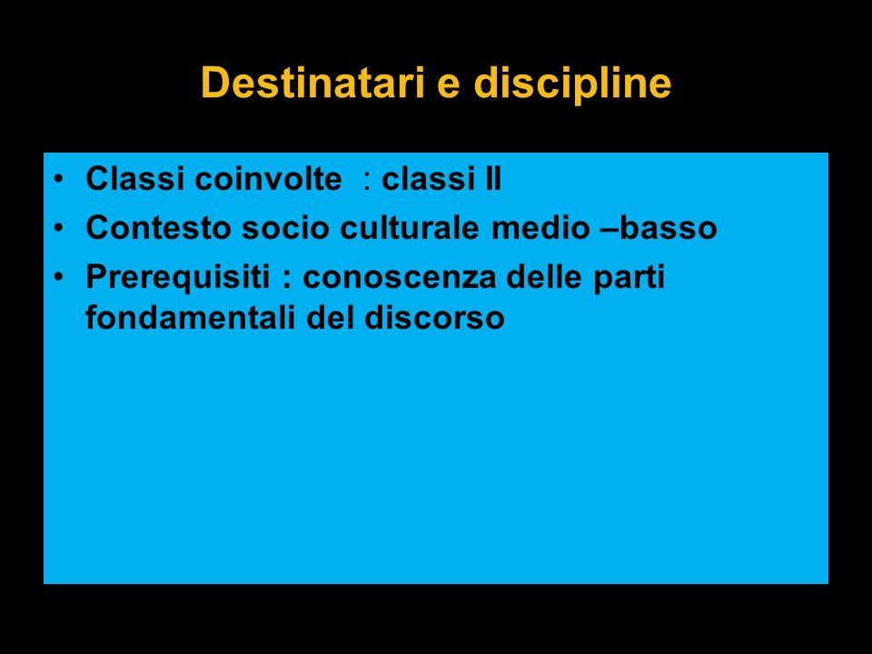 Destinatari e discipline Classi coinvolte : classi II Contesto socio culturale medio –basso Prerequisiti : conoscenza delle parti fondamentali del dis