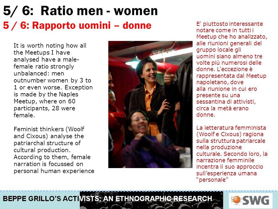 5/ 6: Ratio men - women 5 / 6: Rapporto uomini – donne E piuttosto interessante notare come in tutti i Meetup che ho analizzato, alle riunioni generali del gruppo locale gli uomini siano almeno tre volte più numerosi delle donne.