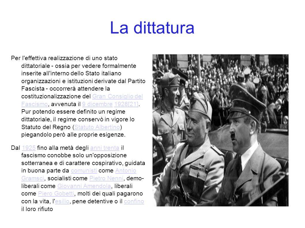 La dittatura Per l'effettiva realizzazione di uno stato dittatoriale - ossia per vedere formalmente inserite all'interno dello Stato italiano organizz