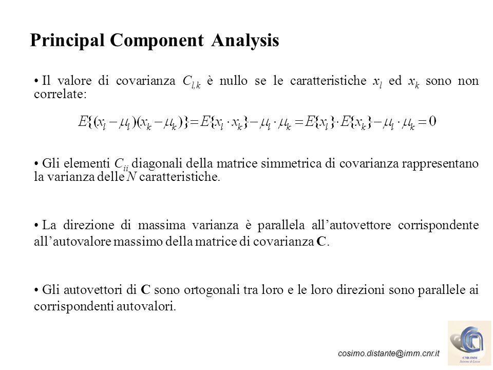 cosimo.distante@imm.cnr.it PCA - Data Reduction con W<N matrice troncata di [e 1,…,e N ] Esempio: da un array di 5 sensori di gas vengono acquisite risposte relative a: Pentanone, Acetone ed Esanale (dimensione input N=5).