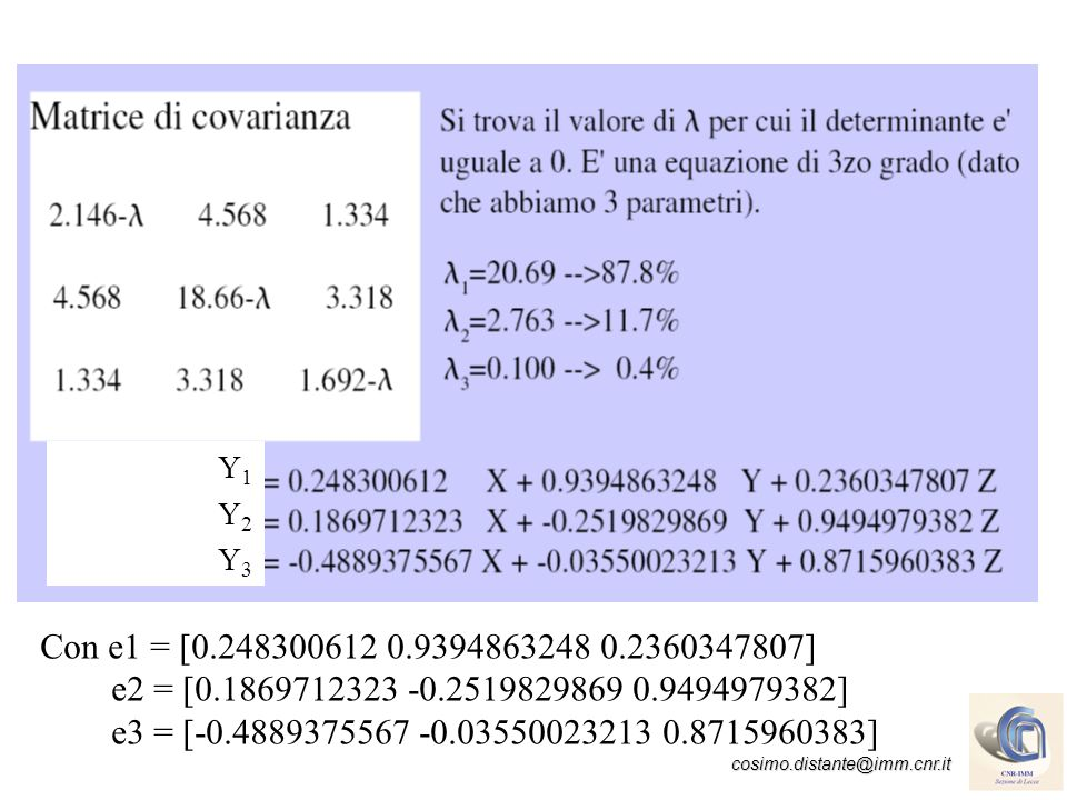 cosimo.distante@imm.cnr.it Principal Component Analysis Gli autovettori della matrice di covarianza C sono orientati nella direzione di massima varianza e, conseguentemente, le caratteristiche associate si presentano con grande varianza (caratteristiche più significative).