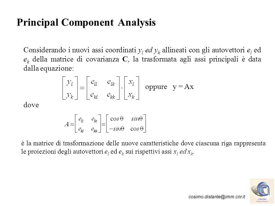 cosimo.distante@imm.cnr.it Principal Component Analysis Le nuove caratteristiche possono essere definite con lorigine dei nuovi assi coordinati y l ed y k coincidente con il centroide del cluster ( l, k ):