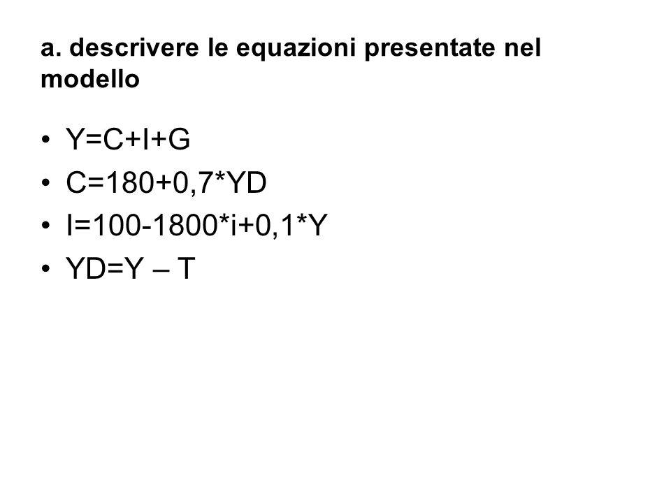 a. descrivere le equazioni presentate nel modello Y=C+I+G C=180+0,7*YD I=100-1800*i+0,1*Y YD=Y – T