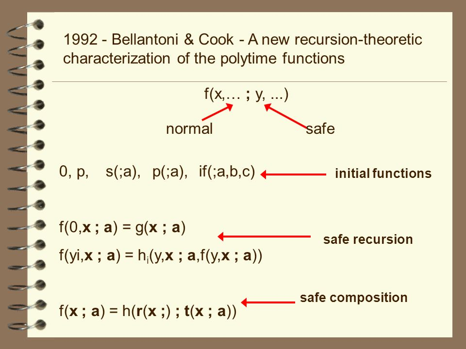 1992 - Bellantoni & Cook - A new recursion-theoretic characterization of the polytime functions f(x,… ; y,...) normalsafe 0,p,s(;a),p(;a),if(;a,b,c) f