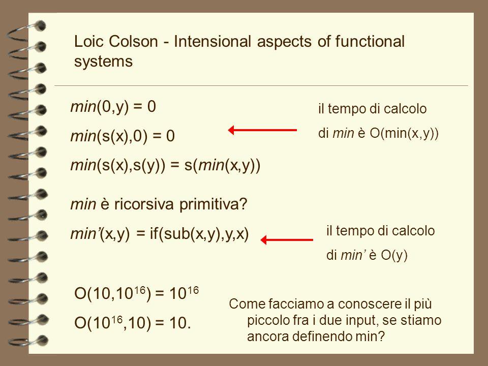 Loic Colson - Intensional aspects of functional systems min(0,y) = 0 min(s(x),0) = 0 min(s(x),s(y)) = s(min(x,y)) il tempo di calcolo di min è O(min(x