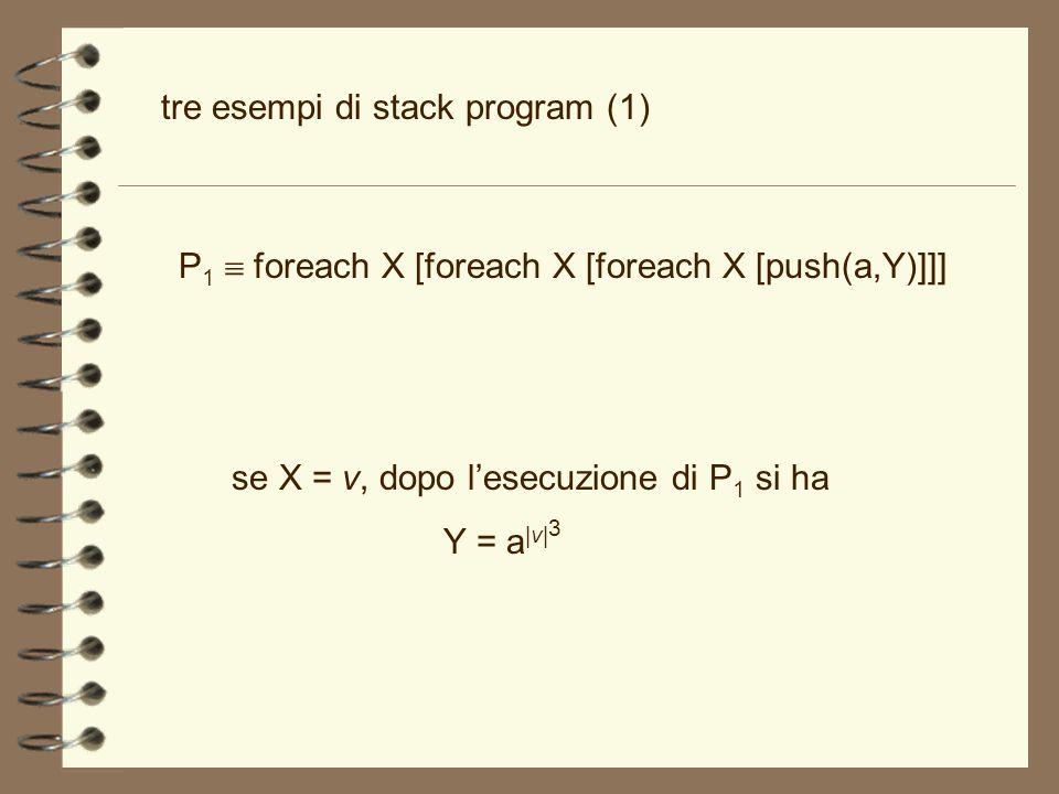 P 1 foreach X [foreach X [foreach X [push(a,Y)]]] tre esempi di stack program (1) se X = v, dopo lesecuzione di P 1 si ha Y = a |v| 3