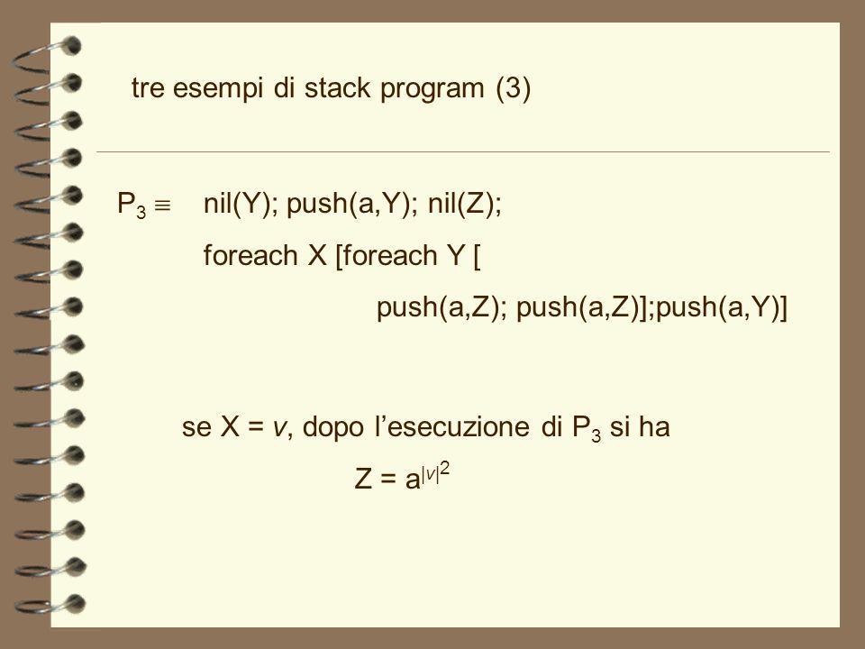tre esempi di stack program (3) P 3 nil(Y); push(a,Y); nil(Z); foreach X [foreach Y [ push(a,Z); push(a,Z)];push(a,Y)] se X = v, dopo lesecuzione di P